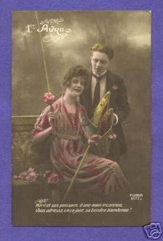 April First tinted Postcard