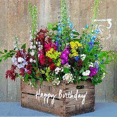 Felicidades de cumpleaños con canasta de flores
