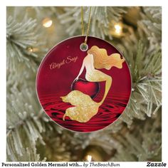 Shop Personalized Golden Mermaid with Red Heart Ceramic Ornament created by TheBeachBum. Christmas Tree Ornaments, Christmas Holidays, Mermaid Pool, Mermaid Ornament, Evening Sky, Holiday Greeting Cards, Ceramics, Red Water, Pool Water