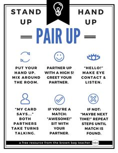 Happy Sunday, friends! Tonight I want to share with you one of my favorite Kagan structures – Stand Up, Hand Up, Pair Up (SU, HU, PU). Kagan Structures are all about cooperative learning – not group work – with frequent modeling, celebrations, community building, and brain breaks…sounds fun, right? Kagan structures hold every student accountable...