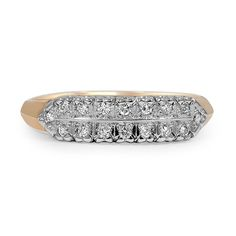 The Tangia Ring from Brilliant Earth ~ This double row wedding band from the Retro era showcases sixteen round brilliant diamonds individually in a classic design (approx. 0.13 total carat weight).