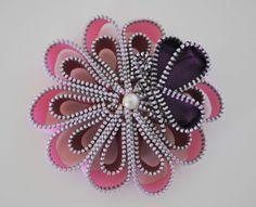 "4"" flower & butterfly brooch/clip by habercraftey"
