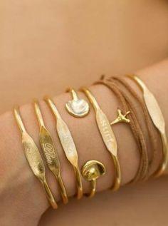 Deep Blue Sea Trio Brass Cuff Bracelets