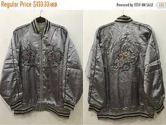 ON SALE Vintage 90s Sukajan Silver Dragon by GoldClothingVIntage