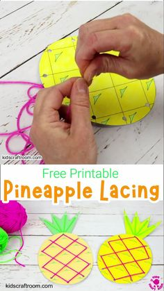 This Lacing Pineapple Craft is lots of fun and a great way to develop fine motor skills. Such a fun and educational Summer craft for kids. Download the free printable pineapple craft template and get threading! (Available in colour and black and white.) #kidscraftroom #summercrafts #pineapplecrafts #kidsactivities #kidscrafts Christmas Activities For Kids, Summer Crafts For Kids, Craft Activities, Preschool Crafts, Summer Diy, Kids Crafts, Printable Crafts, Free Printable, Pineapple Craft