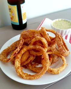 Spicy Red Onion Rings with Dill Honey Mustard