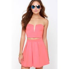Working It Neon Coral Strapless Two-Piece Dress ($30) ❤ liked on Polyvore featuring dresses, pink, strapless dress, pink cocktail dress, neon dress, pink dress and red dress