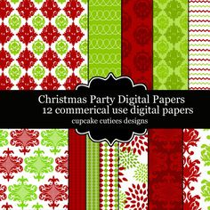 Christmas Party Papers.  These are beautiful!!  Great for invitations, cards, and paper goods. Great scrapbooking papers!