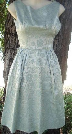 Vintage 50s 60s SAGE Green Floral BROCADE Cocktail Party Dress PAN AM Prom Bow xs 32B $95.00