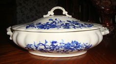 "Flow Blue China Soup Tureen Marked ""Severn"" on Bottom | eBay"