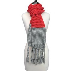 Knitted Fringe Scarf-Red/Grey