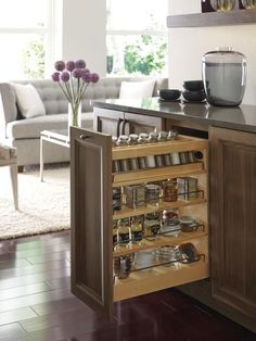 Make your kitchen as functional as it is beautiful with Omega's new cabinet organization upgrades. From soft close functionality to adjustable shelving, these organizational tools create a clutter-free, polished look for your kitchen.     Featured: Omega's Base Pullout with Adjustable Shelves & Spice Rack