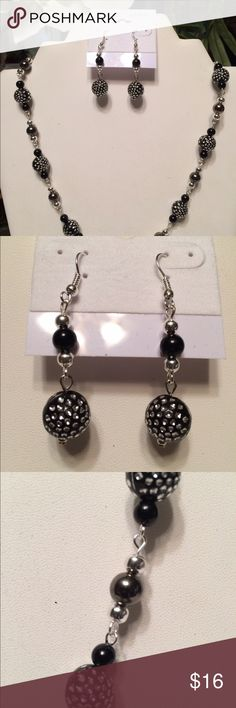 Necklace and Earring Set Sterling Silver plated, black and silver beads with dark gray Pearl beads necklace and earring set Jewelry