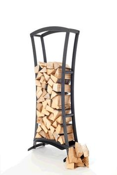 firewood storage and creative firewood rack ideas for indoor. Lots of great building tutorials and DIY-friendly inspirations! Indoor Firewood Rack, Firewood Holder, Firewood Storage, Recycled Trampoline, Range Buche, Log Holder, Fireplace Logs, Wood Store, Into The Woods