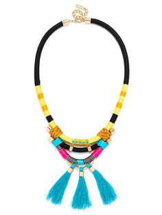 A multihued corded statement is beach ready in neon blues and yellows, with fun flossy fringe. #baublebar #swatstyle #statement #necklace