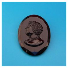 Vintage Czech Cameo Brooch, Jet Black Glass Mourning Brooch, Signed... ($18) ❤ liked on Polyvore featuring jewelry, brooches, vintage glass jewelry, art nouveau jewelry, vintage cameo jewelry, cameo jewelry and deco jewelry