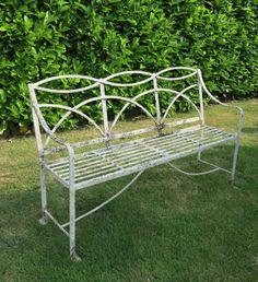 Antique Regency Wrought Iron Garden Bench,benches,regency,bench,seat,Antique ,wrought,iron,reclamation,reclaim,salvage,cannock Wood,staffords.