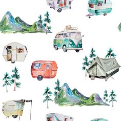 Adventure Travels // Porcelain Blue custom wallpaper by hipkiddesigns for sale on Spoonflower Cool Fabric, Grey Fabric, Camper Fabric, Retro Campers, Kona Cotton, Spoonflower, Adventure Travel, Quilts, Knitting
