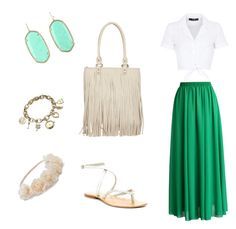 """""""In love with green"""" by azra-90 ❤ liked on Polyvore featuring Chicwish, Hallhuber, Cocobelle, Blazin Roxx, Kendra Scott, Anne Klein and Mudd"""