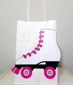 Roller Skate Party Favor, Goody, Gift Bags - Roller Skating Birthday - Roller Skate Birthday - Pink Roller Skate by CraftyCue on Etsy