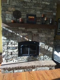 Pin On Fireplace Ideas We Love Ventless Natural Gas Fireplace, Indoor Electric Fireplace, White Wash Brick Fireplace, Stacked Stone Fireplaces, Fireplace Set, Wall Mount Electric Fireplace, Rock Fireplaces, Fireplace Remodel, Fireplace Design