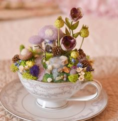 Montclair Fine China Teacup and Saucer with Needle Felted, natural moss, acorns, silk and dried flowers...by thefeltedcottage, $79.00