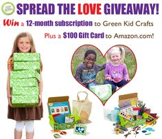 We are so excited to share this fun giveaway with our fans and friends! Win a one-year subscription to Green Kid Crafts plus a $100 Amazon.com giftcard. http://www.greenkidcrafts.com/valentines-day-giveaway/