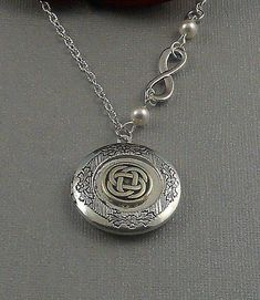 Silver Celtic Knot Locket Antique Silver Infinitely Triquetra Trinity Pearls Locket Necklace- WEDDING BELLS