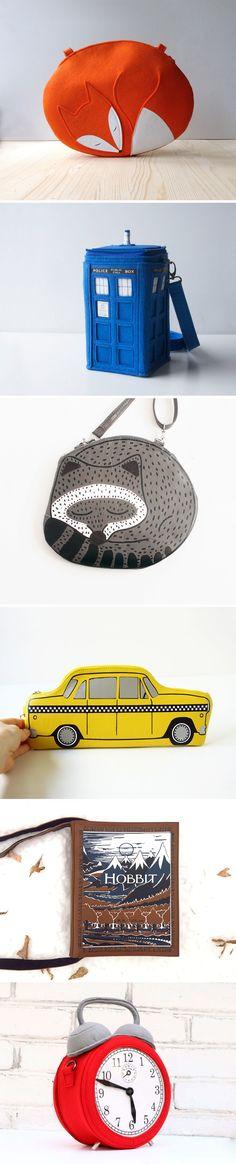 Ingenious designer bags made of felt and leather | Оригинальные дизайнерские сумки из фетра и натуральной кожи