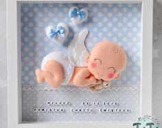 Baby Angel Decorative Frame, nuovo bambino, personalizzati sentivo casella Frame, regalo di battesimo con nome e data, regalo per un neonato, Nursery Decor