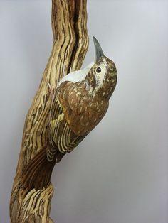 """Tree Creeper"" wood carving by British artist Terry Everitt. www.ArtsyShark.com"