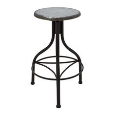 Use this indoor/outdoor metal stool as stylish seating in your kitchen, or set a reading lamp on top for an industrial-chic end table. Industrial Stool, Industrial Chic, Industrial Design, Patio Rocking Chairs, Patio Chairs, Coffee Table Bench, Rustic Vintage Decor, Renovation Hardware, Stools For Kitchen Island