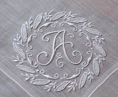 Em's Heart Antique Linens -Vintage Linen Madeira Embroidered Monogram Hanky A Embroidery Letters, White Embroidery, Vintage Embroidery, Embroidery Applique, Cross Stitch Embroidery, Machine Embroidery, Embroidery Designs, Needlework, Textiles