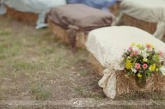 Hay bale seating.... just may have to do this!!!