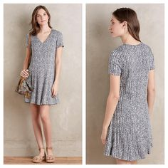 """Anthropologie Dolan Dress NWT M Ribbed Flare Dress by Dolan from Anthropologie. It falls 35"""" from the shoulder and is fully lined. The stock pictures make the dress look mostly gray but it's a knit of navy and white and my own pictures most accurately show the color. An effortless, classic silhouette. Anthropologie Dresses"""