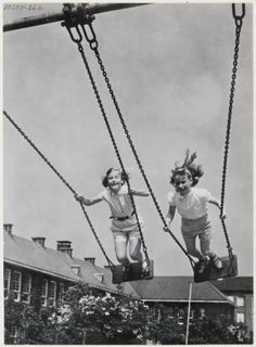 Standing on swing and swinging high...