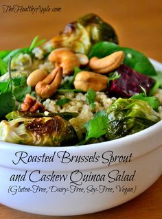 Roasted Brussels Sprout and Cashew Quinoa Salad {Gluten-Free, Dairy-Free, Soy-Free, Vegan} #glutenfree