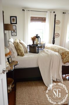FALL IN THE GUEST BEDROOM-with white throw-stonegableblog.com