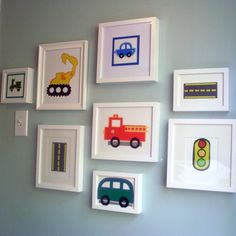 I could easily make something like this for the kids rooms - automobile silhouettes with Ikea frames