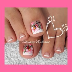 Flower Nail Designs, Pedicure Designs, Colorful Nail Designs, Toe Nail Designs, French Pedicure, Pedicure Nail Art, Toe Nail Art, Manicure, Fabulous Nails