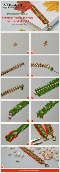 PandaHall Christmas Jewelry Making----Christmas Themed Two-hole Seed Beads Bracelet Red and Green are two great theme colors during Christmas. Today's tutorial is about how to apply red and green seed beads into making a bracelet to welcome the festival. #PandaHall #Jewelry #seedbeads #bracelet #stitch #diy #tutorial #Christmascraft #craft #promotion