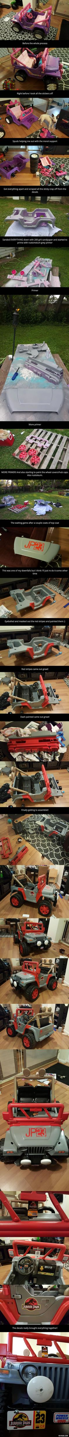 This dad repainted a Barbie Jeep to Jurassic Park Jeep for his son... This is freakin' Awesome!!!