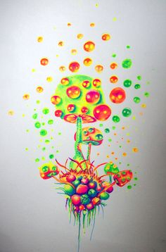"thelookingglassgallery: Artist Of The Week (June nicostars for ""Radioactive"" —— See previous Artist Of The Week winners here. Trippy Drawings, Psychedelic Drawings, Colorful Drawings, Art Drawings Sketches, Cool Drawings, Hippie Painting, Trippy Painting, Mushroom Drawing, Mushroom Art"