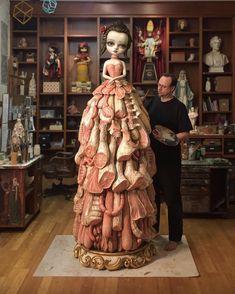 """Mark Ryden's """"Wood Meat Dress"""" Sculpture for Spanish Retrospective! Mark Ryden, Art Bizarre, Creepy Art, Weird Art, Strange Art, Arte Horror, Horror Art, Araquem Alcantara, Art Sinistre"""