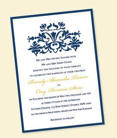 Wedding Invitation Brocade Set w/ Belly Band - Metallic Navy Blue Gold.
