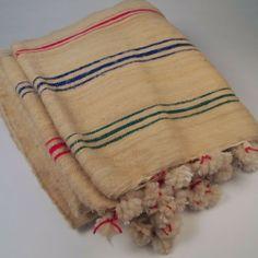 Moroccan Wool Multi-Striped Pom Pom Blanket by Mercado Kneeland Co.