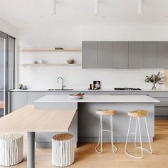 32 Popular Scandinavian Kitchen Decor Ideas You Should Try - Born in the coldest areas, the Scandinavian style includes pieces of furniture made of pine, serious lines and tones inspired from fjords. Home Decor Kitchen, New Kitchen, Home Kitchens, Kitchen Dining, Kitchen Cabinets, Kitchen Hacks, Kitchen Ideas, Kitchen Island Bench, Kitchen Grey