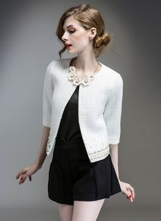 Cotton & Cotton Blend As Picture Short Half Sleeve Collarless Coats & Jackets