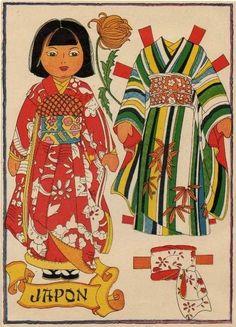 Little Japanese girl paper doll.