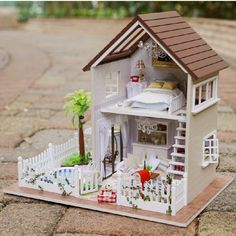 ... Home Decoration Crafts DIY Doll House Wooden Doll Houses Miniature DIY dollhouse Furniture Kit Room LED ...